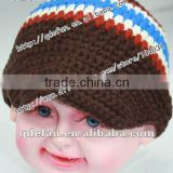 wholesale 100% cotton plain knitted patterns crochet baby boy caps infant peaked cap