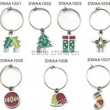 wholesale christmas wine glass charms, various designs,passed SGS factory audit and ISO 9001 certification