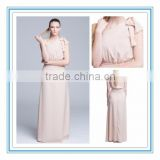 2015 Modern Peach One-Shoulder Bridesmaid Gown Floor Length Elegant Bridesmaid Dress (LLKT-1005)