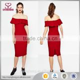 2016 wholesale elegant sexy ladies dress for party night top quality pure red off-shoulder midi dress