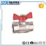 Nickel Plated 1/2 3/4 1 inch female forged full-port brass ball valve with butterfly handle