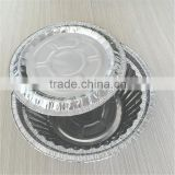 Food packing aluminum tray barbecue round shape foil container, disposable household foil bowl