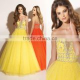New hot !!! beaded custom-made yellow ball gown CWFab4238