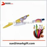 lovely promotion logo ball pen with cartoon clips/ soft rubber clips/gift pen for kids