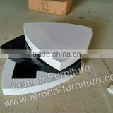 black and white color MDF board Fashion best sell round glass coffee tea table