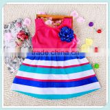 Best Selling Wholesale Casual Dress Fashion Design Girls Blue White Striped Dress Wedding Party Flower Girl Dresses