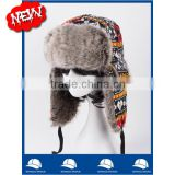 In stock new product china manufacturer OEM CUSTOM LOGO winter women fur Jacquard bomber russian hat and cap