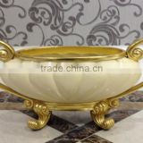 Glorious Decorative Fruit Bowl, Gold Color Fruit Bowl With Handles, Gilt Decorative Arts & Crafts