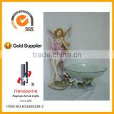 Home decoration flower fairy resin plate with sculpture