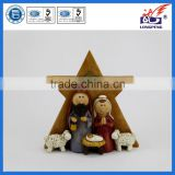 The Holy Family of Christ,Resin Nativity Star Statue,Holy Family Nativity Stable and Star
