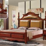 Luxury Genuine leather upholstered high Headboard Double bed Rubber wooden furniture
