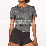 Custom soft blank heather gray bamboo t shirt for womens hot tops in gym