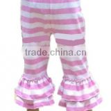 New Fabric Cotton Ruffle Cotton Pants Baby Girls Cotton Knit Leggings Kids Pink Ruffle Stripe Matching Leggings Trousers