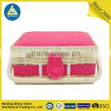 bamboo woven basket small size with white dot on pink cotton fabric