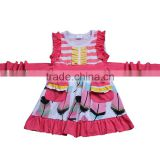 Wholesale summer baby girls pink feathers print boutique clothing one-piece princess dress party wear outfit smart dresses skirt