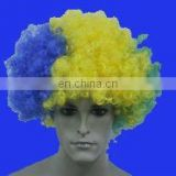 Top sell promotional sports wig in yellow and blue