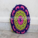 Vintage Suzani Embroidered Round Cushion Cover Indian Pillow Cover Size 16""