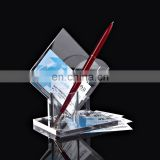 Creative clear tabletop acrylic business name card and pen display holder with pocket for office table
