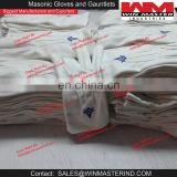 masonic regalia white cotton gloves with square and compass logo