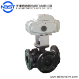 motorized cast steel flange three way ball valve DN65