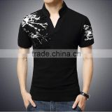 2016-New-Fashion-Brand-Print-Slim-Fit-With-short-sleeves-T-Shirt-Men-Tee-V-Neck Standard Sports