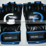 blue & black genuine cowhide leather sports mma pro fight training gloves available in various colors and sizes: S, M, L, XL