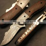 "udk f88"" custom handmade Damascus folding knife / pocket knife with walnut wood handle"