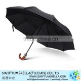three fold auto open and auto close umbrella fully auto umbrella black fabric for man with wooden platic handle