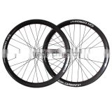 65mm wide carbon fat bike wheelset 26er hookless double wall tubeless compatible fatbike wheel with 12k glossy