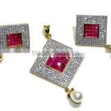Gold Finish Ethnic Ruby,Pearl Pendant & Earring Jewelry design with Meenakari (Enamal) . 22 K Gold Plated Jewellery