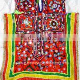 Beautiful fine embroidery work in a variety of stitches mirror work and metal sequins work choli dress