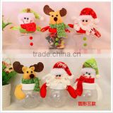 2016 new plastic cheaper Santa snowman star candy case candy bottle candy box Christmas ornament
