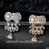 Vintage wholesale two clolors Austrian crystal indian jewelry for dress owl 925 sterling silver brooch