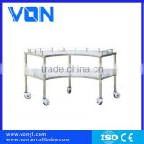 Stainless steel instrument trolley with 3 layers