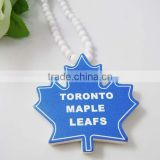 TORONTO MAPLE LEAFS Wooden Pendant with a 36 Inch Wood Beaded Necklace Chain