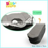 High quality absorbent Bamboo charcoal microfiber insert washable charcoal bamboo nappy insert 5 layers                                                                         Quality Choice