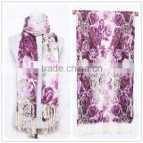 Thin Women Flower Beautiful Charm Symmetry Scarf Trendy Polyester Scarf for 2015 Spring ,Fashion Hit Color Tassel Lady Scarf