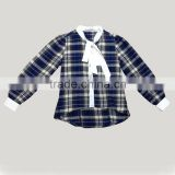 Clothing Manufacturer Latest Shirts for Girl Long Sleeve Checked Printed Cotton Blouses for Girls