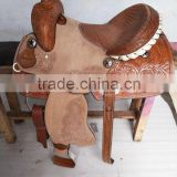 western saddle hand carved leather