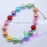 Cheap Wholesale High Quality Fashion Kids Costume Jewelry Handmade Bead Rainbow Color Fake Pearl Necklace