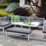 powder coating white color aluminum sofa furniture, sectional corner sofa set, patio furniture