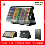 High Quality PU leather,Stand leather case for Archos 97b Titanium 9.7 inch tablet pc leather case,Black