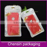 white plastic bag withzipper of the hot stamping printing for iphone6 plus back cover