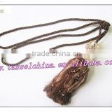 Acrylic tassel tieback with beads, decorative ribbon curtain tieback and magnetic design