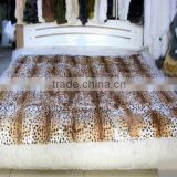 Winter Warm Natural 100% Real Rabbit Fur Blanket Leopard Print Design Rugs