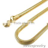 hign end round snake shape 316l stainless steel jewelry gold filled chain