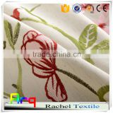 Linen cotton blend fabric with Garden style embroidery design living room curtain, cushion cover, table cloth