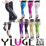 NEW Sexy Women's Footless Metallic Leggings Liquid Wet Tights Shiny Dance Pants L1003