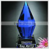 Whole Blue Crystal Peak Trophy WIth Black Base For VIP Gifts