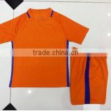 Free shipping to the Netherlands 2016/2017 top quality orange kids football uniform customs child youth Holland soccer jersey